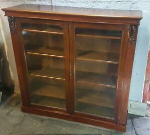 Magnificent Victorian solid mahogany collectors display cabinet bookcase 1860
