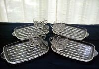 Federal Glass 4 Clear Colonial Yorktown Snack Plate & Cup Sets