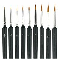 9X Miniature Paint Brush Set Weasel Hair Brush Fine Detail Art Nail Oil Painting