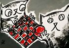 """Original ACEO Cat Painting """"Checkers w/ Daddy"""" Miniature Art By Samantha McLean"""