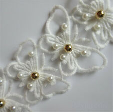 1yd Butterfly Pearl Lace Edge Trim Wedding Ribbon Embroidered Applique Sewing