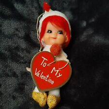 "Vintage Valentine 6"" Pixie Girl Elf With Heart Valentine's Day Card"