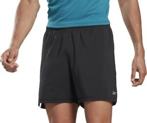Reebok Essential 2 In 1 Mens Running Shorts Black Speedwick Fitted Inner