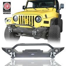 Front Bumper Guard w/ Winch Plate & Led Lights For 1997-2006 Jeep Wrangler  TJ