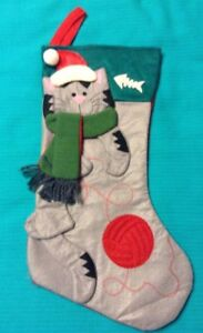 "Cat Christmas Stocking Felt 17"" Happy Gray Cat W Ball Of Yarn"