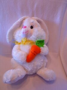 Plush 14 inch White Bunny holding a carrot