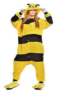 New Unisex Adult Cartoon Pajamas Anime Cosplay Costumes Cute Bee Sleepwear gift