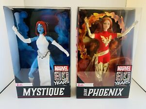 Barbie Signature Series Set Of 2 Marvel 80 Years Mystique, Dark Phoenix NEW Xmen