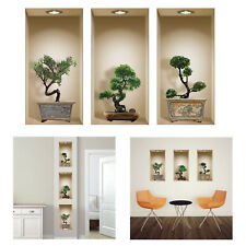 Nisha 3D Bonsai Vinyl Decorative Wall Art 3 Piece Set Lounge Dining Hall Decor