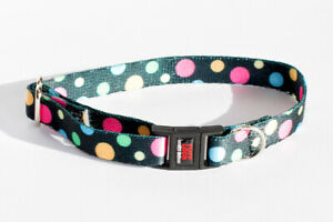 "Tufflock Adjustable 6""-11"" BREAKAWAY Cat Collar DOTZ PASTEL Made in the USA"