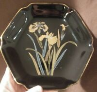 Vintage Yamaji Japan Ceramic Black Hexagon Plate Gold & Silver Iris & Dragonfly