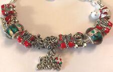 ❤️European CHARM BEADS CHRISTMAS BRACELET 🎄 w/ Silver Plated Chain #1❤️