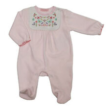 Baby Girl Clothes Spanish Romany Style  pink Floral  velour sleepsuit 0-3 3-6 m