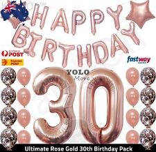 Ultimate 30th Rose Gold Birthday Pack 30 Thirty Confetti Balloons Party DecorAUS