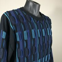 VTG NORM THOMPSON SWEATER MENS HIP HOP 3-D NOTORIOUS BIGGIE COSBY SIZE XL BLUE