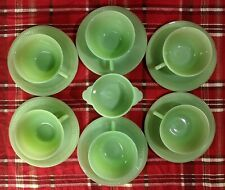 Set of Six Fire King Green Jadeite Jane Ray Cups & Saucers & One Sugar Bowl