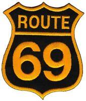 ab60 ROUTE 69 Schild Aufnäher Bügelbild Patch Biker Abzeichen USA 7,0 x 8,2 cm