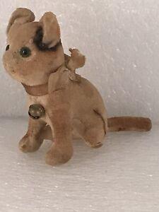 """Vintage 4"""" Stuffed Dog/Cat? Plush Velvet Animal with Bell Japan Glass Eyes"""