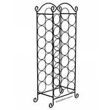 NEW STAINLESS STEEL FINISH 21 WINE BOTTLES RACK HOLDER FLOOR FREE STANDING SHELF