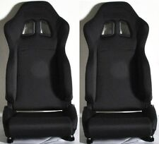 NEW 2 BLACK CLOTH RACING SEATS RECLINABLE w/ SLIDERS FOR CHEVROLET **