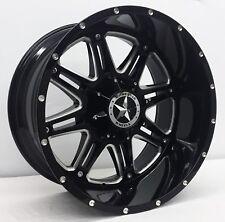 "22"" Black CNC Lonestar Outlaw Wheels Chevy Ford Toyota 22x12 6x139.7 6x135 -44mm"