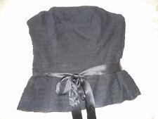 Coast Black Ruched Silk Boned Strapless Bodice size 8