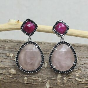 Solid 925 Sterling Silver Jewelry Rose Quartz Ruby Earring 3cm SE2441