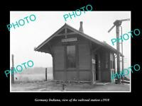 OLD LARGE HISTORIC PHOTO OF GERMANY INDIANA, ERIE RAILROAD STATION c1910 2