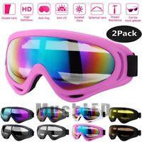 2Pack UV400 Ski Goggles Snow Snowboard Winter Sports Anti-Fog Glare Lens Glasses