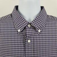 Jos A Bank Traveler Purple Gray Mini Check Men's L/S Dress Button Shirt Sz XL