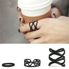 Vintage Gothic Hollow 3 Pieces Black Open Ring Elegant Jewelry Gift 3PCs