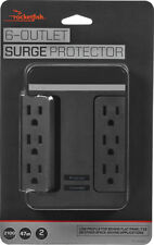 Rocketfish 6-Outlet/2-USB Swivel Wall Tap Surge Protector Black BRAND NEW Gaming