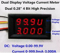 """Red+Red 0.28"""" Dual LED Display 4 Bit 0.28 Digital Ammeter Voltmeter Car Voltage"""
