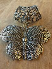 Argent Antique Grand Filigrane Papillon Écharpe Bague Pendentif Cadeau