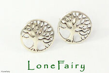 Solid 925 Sterling Silver Tree of Life Novelty Round Stud Earrings Quality 9mm