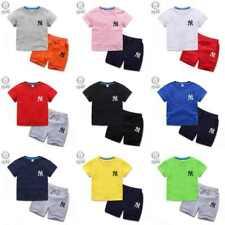 Kids 2PCS Short Sleeve Shirt Set Summer Fashion NY T-Shirt Tops+Pants Boys Girls
