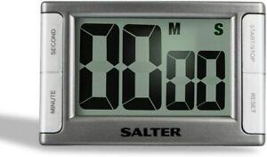 Salter Contour Digital Kitchen Timer Magnetic 99 Minutes 59 Seconds Sliver