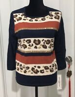 Alfred Dunner Sweater PM Petite Medium 3/4 Sleeve Square Neck Striped NWT