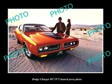 OLD POSTCARD SIZE PHOTO OF DODGE CHARGE R/T 1971 LAUNCH PRESS PHOTO
