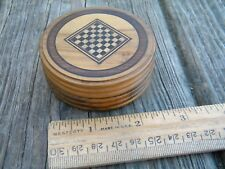 Antique? Inlaid Mini game board wood dice box shaker
