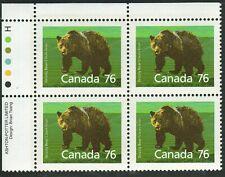 Canada sc#1178 Wildlife - Mammals : Grizzly Bear, Ul Imprint Block, Mint-Nh