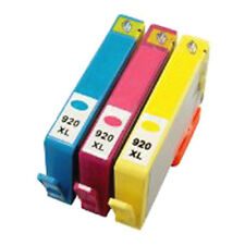 3X HP 920XL Reman Ink Cartridges (C Y M) W/Chips FOR HP Officejet 6000,6500,7000