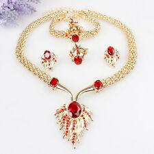 Gold Plated Crystal Necklace Bracelet Earrings Ring Set Wedding Fashion Jewelry