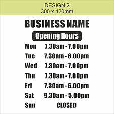 OPENING TIMES + SHOP NAME Window, Wall Sign Vinyl Decal Sticker, opening hours 2