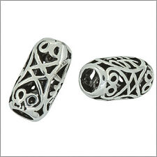 2 Antique Sterling Silver Filigree Tube Barrel Leather Cord Spacer Beads #97156