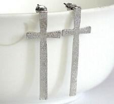 M 1 paire Bijoux Boucles d'oreilles style  croix argent argenté martelé neuf