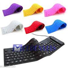 Teclado Flexible Enrrollable Silicona USB Español letra Ñ Azul Blanco Negro Rosa