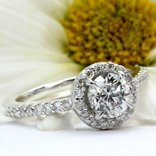 1 CT ROUND CUT DIAMOND ENGAGEMENT RING D/VS 14k WHITE GOLD