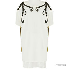 MSGM Cream Black Crystal Sequin Detailed Crepe Cocoon Tunic Dress IT40 UK8