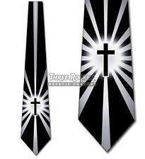 Shine on Me Black Cross Necktie Mens Religious Tie Church Neck Tie NWT